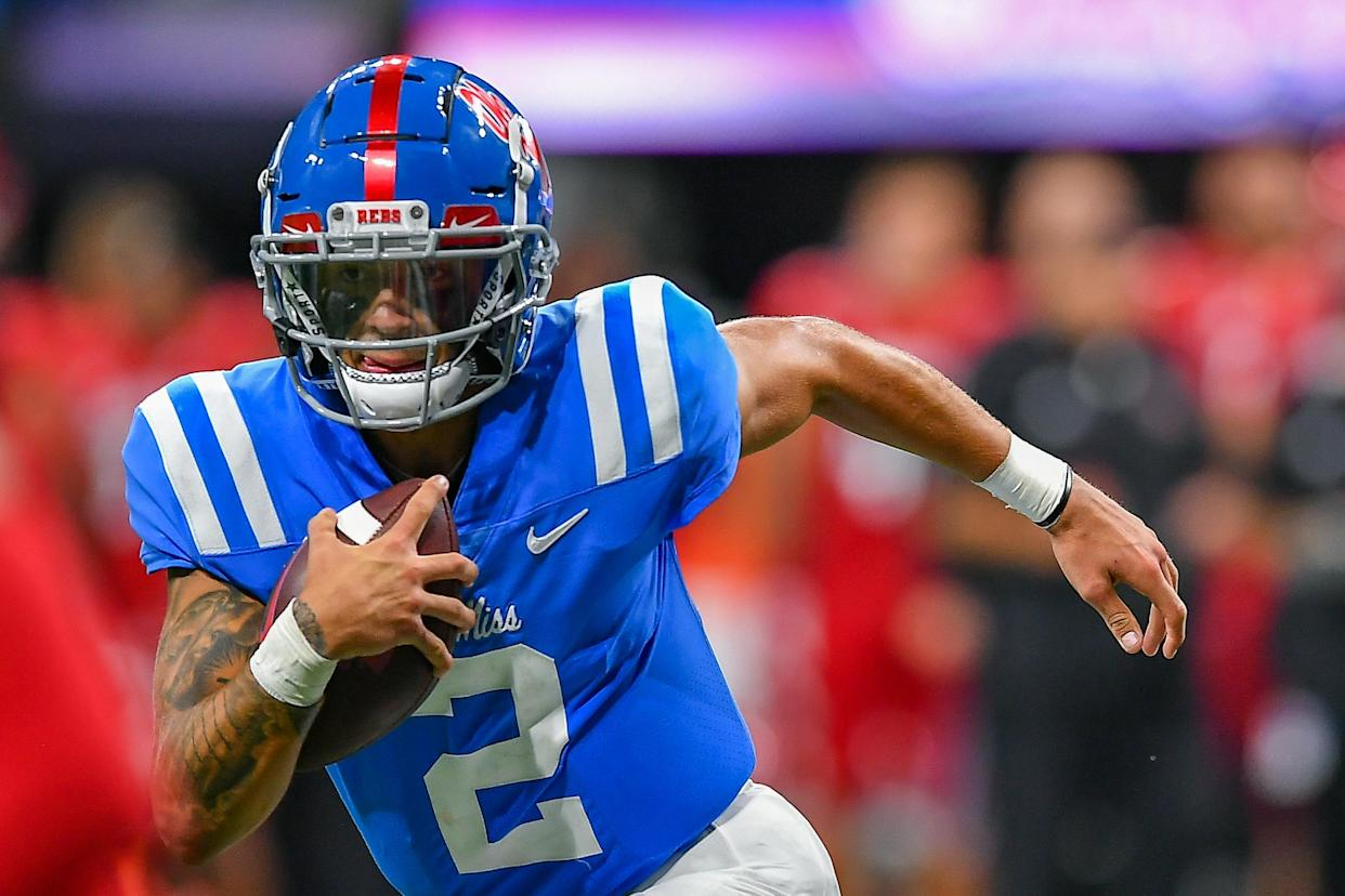 Ole Miss quarterback Matt Corral had a huge game against Alabama in a loss in 2020. (Photo by Rich von Biberstein/Icon Sportswire via Getty Images)