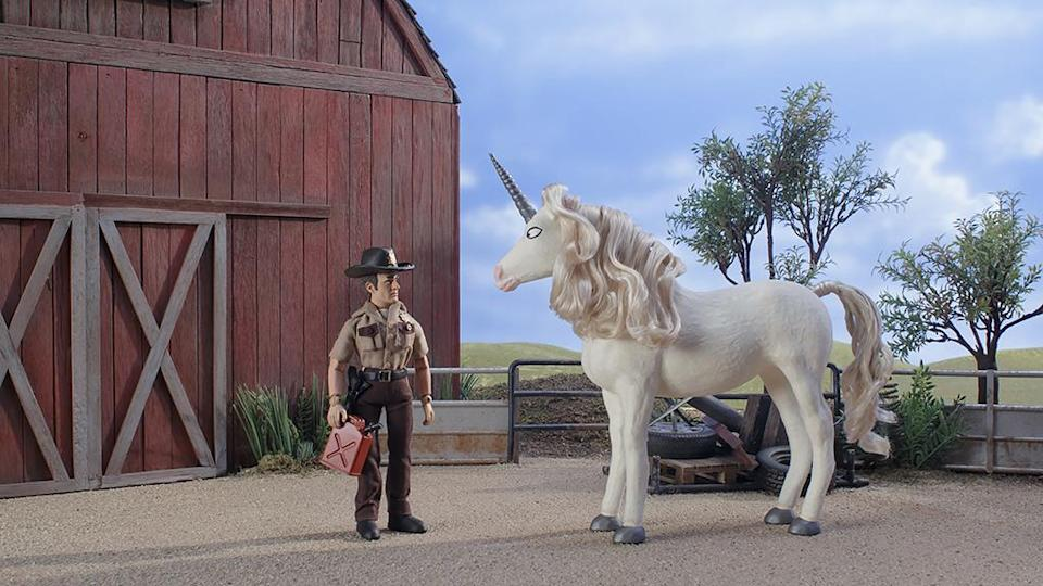 Rick is kindly offered a ride in search for some gas in 'The Robot Chicken Walking Dead Special: Look Who's Walking' (Photo: Courtesy of Adult Swim)