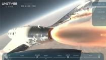 Virgin Galactic's passenger rocket plane VSS Unity starts its ascent to the edge of space