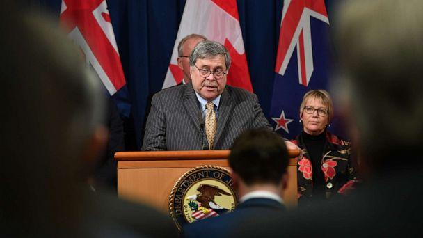 PHOTO: Attorney General Bill Barr announces measures against online sexual exploitation, March 5, 2020, during a press conference at the Department of Justice in Washington, DC. (Mandel Ngan/AFP via Getty Images)