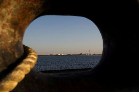 FILE PHOTO: A general view of an oil dock is seen from a ship at the port of Kalantari in the city of Chabahar