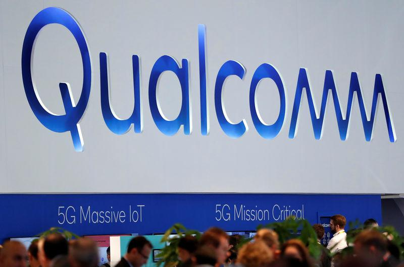 FILE PHOTO: The logo of Qualcomm is seen during the Mobile World Congress in Barcelona