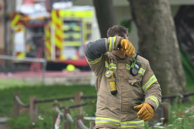 A firefighter at the scene