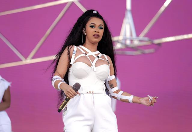 Cardi B sported long extensions and blue eyeshadow at Coachella. (Photo: Rich Fury/Getty Images for Coachella)