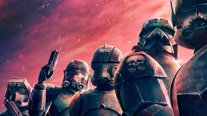 In a close up from the Bad Batch poster the titular clones stand in front of a dramatic sunset