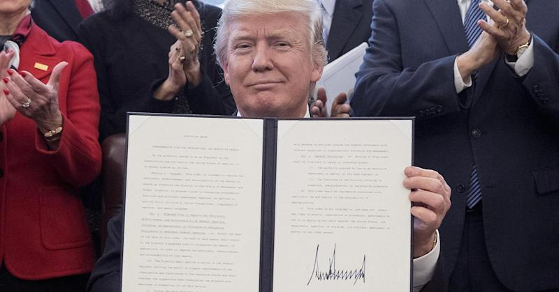 Trump signs executive order aiming to trim government costs