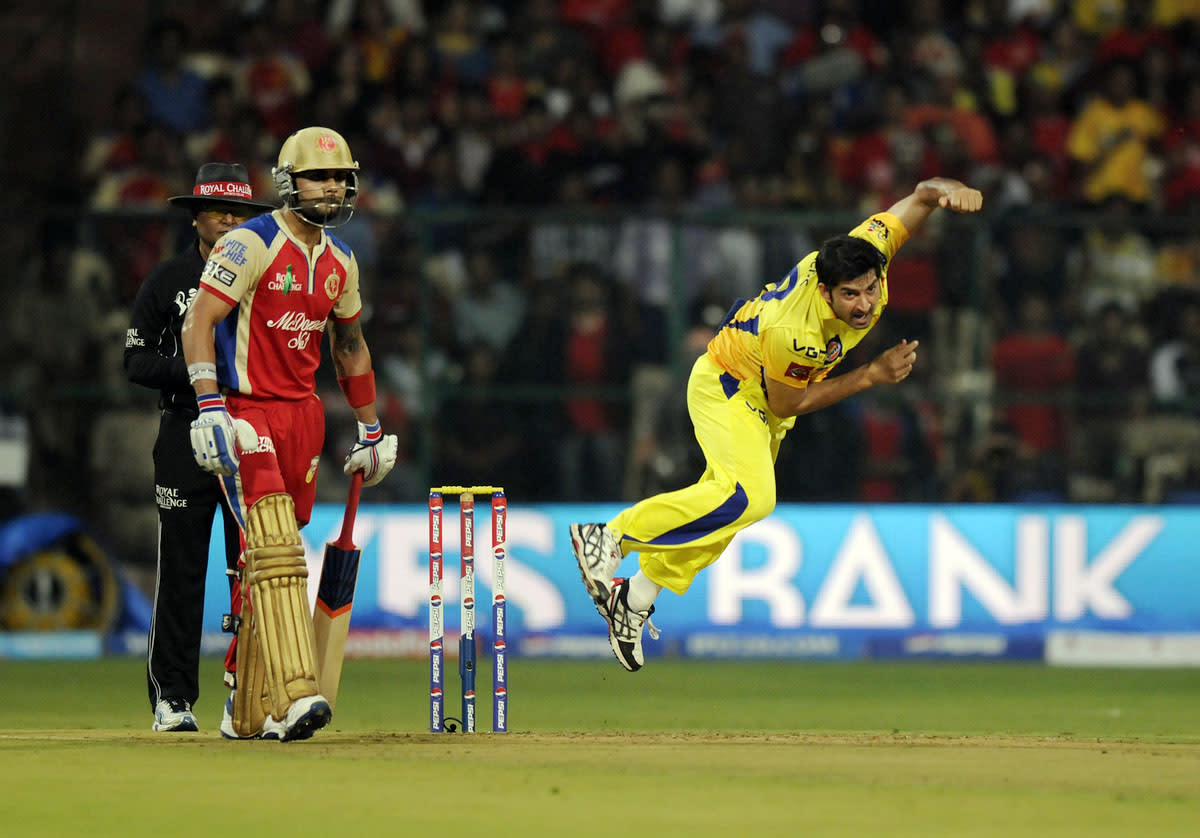 Mohit Sharma of Chennai Super Kings bowls during match 70 of the Pepsi Indian Premier League between The Royal Challengers Bangalore and The Chennai Superkings held at the M. Chinnaswamy Stadium, Bengaluru  on the 18th May 2013. (BCCI)