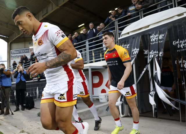 Folau, left, made his Catalans debut on Saturday