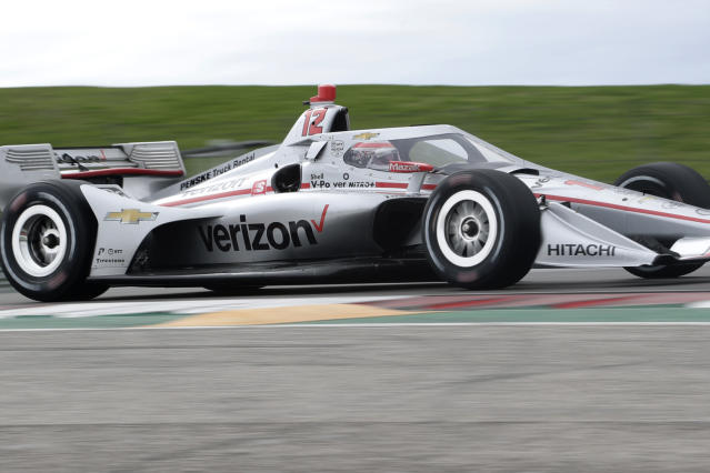 IndyCar driver Will Power steers through a turn during IndyCar Series Open Testing, Wednesday, Feb. 12, 2020, in Austin, Texas. Drivers have mostly praised the new aeroscreen design, a safety innovation for driver protection in the cockpit. (AP Photo/Eric Gay)