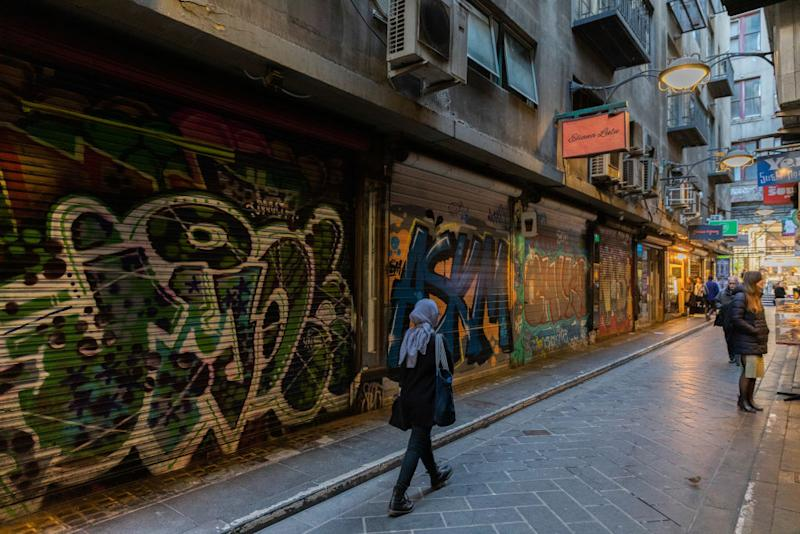 Closed down cafes at the usual busy and popular Degraves Street Laneway on July 09, 2020 in Melbourne, Australia. (Photo by Asanka Ratnayake/Getty Images)