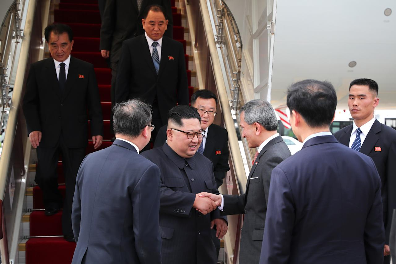 <p>North Korean leader Kim Jong Un is greeted by Foreign Minister Vivian Balakrishnan upon arriving in Singapore at Changi Airport on 10 June, 2018. (PHOTO: Ministry of Communications and Information, Singapore) </p>