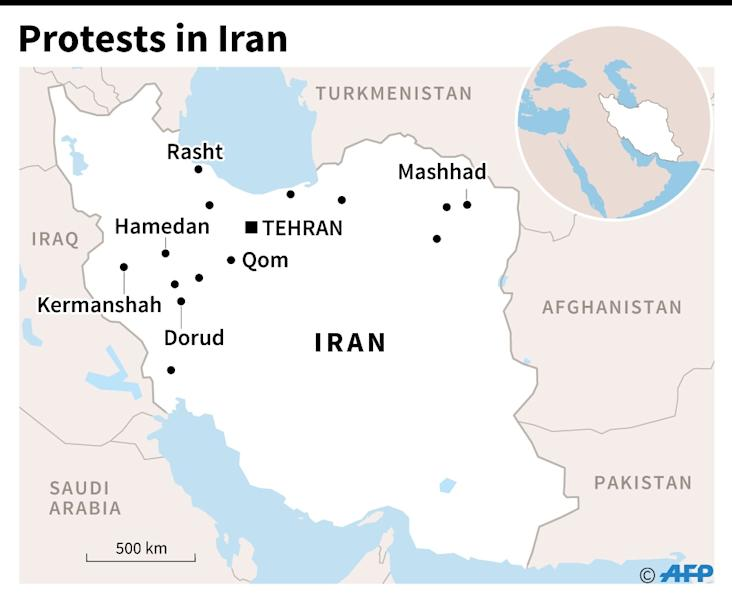 Map of Iran locating the main cities hit by three nights of protests. (AFP Photo/John SAEKI)