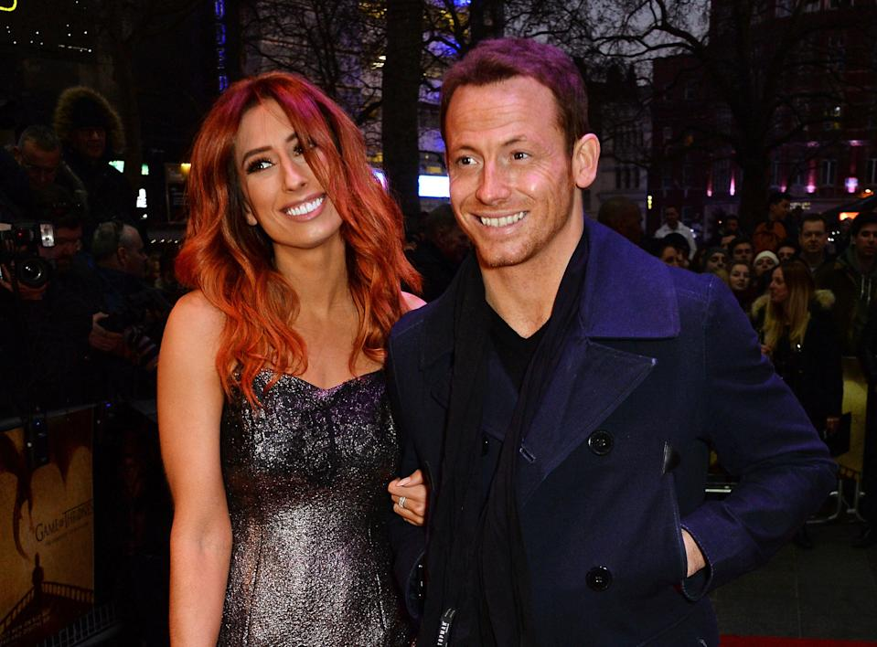 """LONDON, ENGLAND - MARCH 14:  Stacey Solomon (L) and Joe Swash arrive for a Gala Screening of """"Game of Thrones"""" Season 5, Episode 8: """"Hardhome' at Empire Leicester Square on March 14, 2016 in London, England.  (Photo by David M. Benett/Dave Benett/WireImage)"""