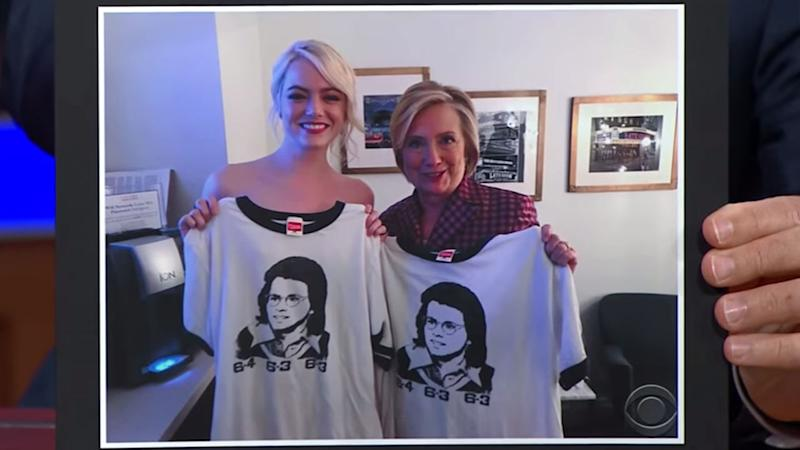 Hillary Clinton and Emma Stone at Late Show