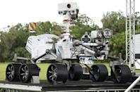 A close-up view of a full size model of the Perseverance rover is on display at Cape Canaveral Air Force Station in Florida