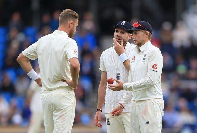 Joe Root, centre, is mulling over whether to unleash Stuart Broad and James Anderson in tandem (Nigel French/PA)