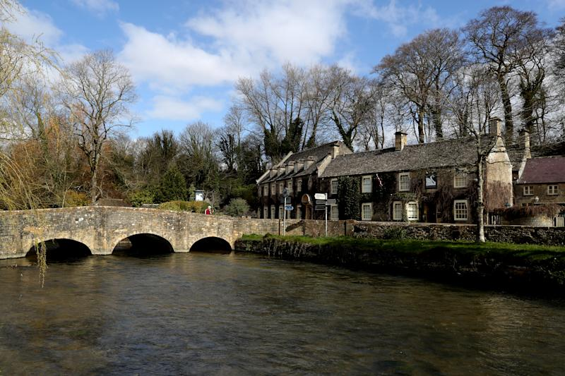 The Swan Inn Hotel in BIbury in the Cotswolds, Gloucestershire as the clocks move forward an hour to British Summer Time (BST). PA Photo. Picture date: Sunday March 29, 2020. Photo credit should read: David Davies/PA Wire (Photo by David Davies/PA Images via Getty Images)