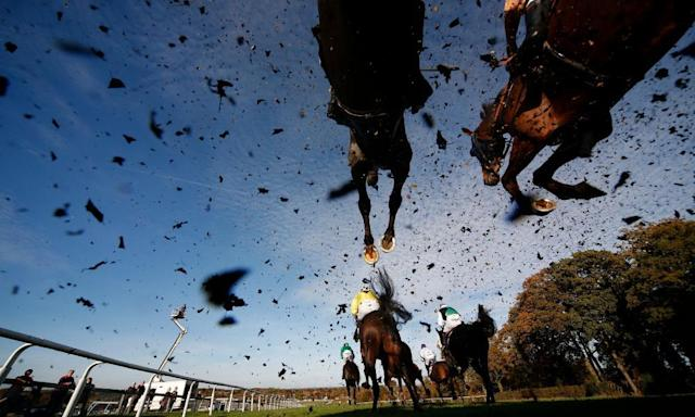 """<span class=""""element-image__caption"""">A general view as runners clear a fence at Plumpton, where racing takes place on Monday. </span> <span class=""""element-image__credit"""">Photograph: Alan Crowhurst/Getty Images</span>"""