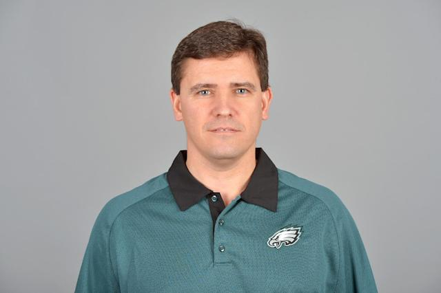 This is a 2013 photo of Bill Lazor of the Philadelphia Eagles NFL football team. This image reflects the Philadelphia Eagles active roster as of Thursday, February 14, 2013 when this image was taken. (AP Photo)