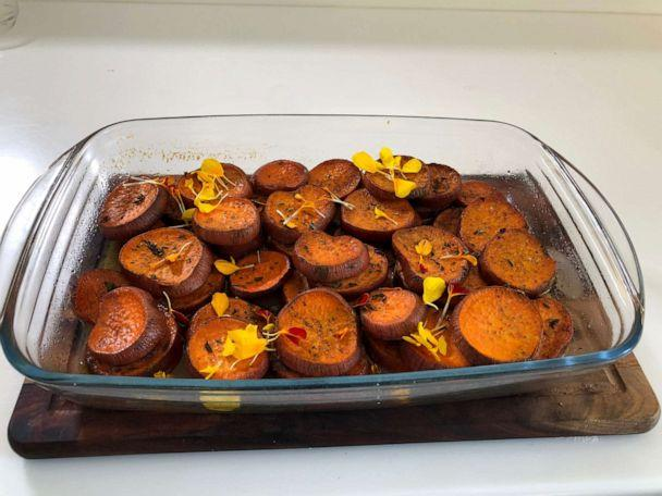 PHOTO: A dish of caramelized sweet potatoes is pictured as a Thanksgiving dinner option. (Olivia Smith/ABC News)