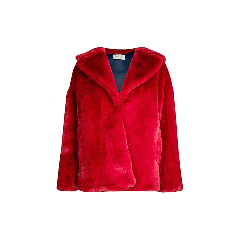 Embrace this bold-hued faux fur from Diane von Furstenburg, and be sure to layer in tone-on-tone with a rouge knit and tailored pant, or pair with a pop of pink. Buy now: Diane von Furstenburg coat, $600, selfridges.com.