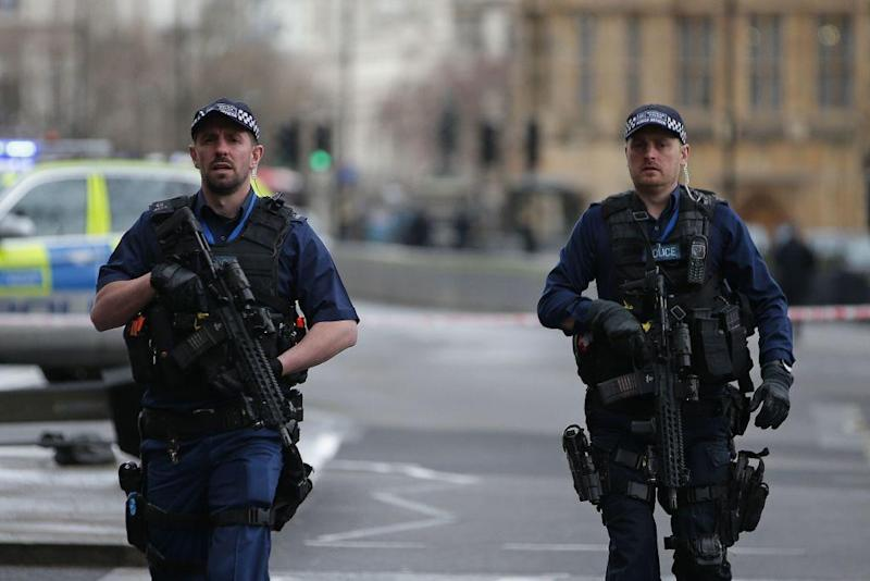 Armed police outside Parliament following the attack last month: Getty