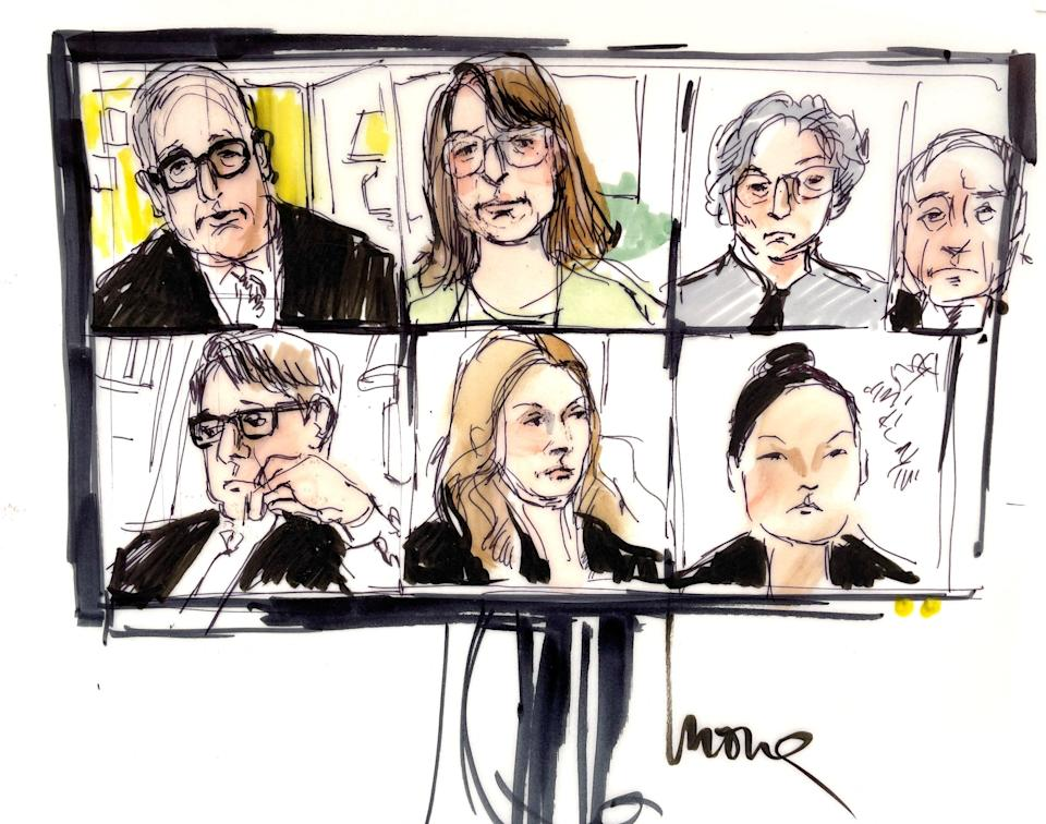 This courtroom sketch shows Britney Spears' public defender Samuel Ingham (top left), Britney Spears' professional care manager Jodi Montgomery (top center) and other participants, virtually appearing on a screen, during the hearing of Britney Spears' guardianship case in the Los Angeles County Courthouse on June 23, 2021.