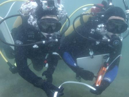 May 23, 2013. USC Environmental Studies Scientific Divers in Training deploying transect tape and recording data underwater in Blue Cavern State Marine Protected Area off Catalina Island. Photo by author.