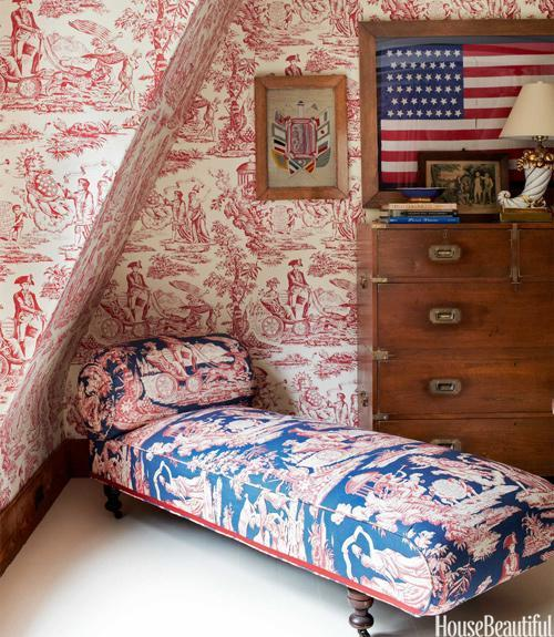 """<div class=""""caption-credit""""> Photo by: Bjorn Wallander</div><div class=""""caption-title"""">Patriotic Master Bedroom</div><p> In John Knott and John Fondas's Maine master bedroom, the patriotic theme sprang from Fondas's collection of Washington memorabilia and American flags. Independence Toile covers the daybed next to a 19th-century English campaign chest. Walls are covered in Quadrille's Independence Engraving. </p> <p> <b>See more:</b> </p> <p> <a rel=""""nofollow noopener"""" href=""""http://www.housebeautiful.com/shopping/best/4th-of-july-entertaining-ideas?link=emb&dom=yah_life&src=syn&con=blog_housebeautiful&mag=hbu"""" target=""""_blank"""" data-ylk=""""slk:11 Chic Finds for 4th of July Party"""" class=""""link rapid-noclick-resp""""><b>11 Chic Finds for 4th of July Party</b></a> <br> <br> <a rel=""""nofollow noopener"""" href=""""http://www.housebeautiful.com/decorating/home-makeovers/summer-home-decorating-ideas?link=emb&dom=yah_life&src=syn&con=blog_housebeautiful&mag=hbu"""" target=""""_blank"""" data-ylk=""""slk:50+ Easy Summer Decorating Ideas"""" class=""""link rapid-noclick-resp""""><b>50+ Easy Summer Decorating Ideas</b></a> </p>"""
