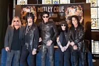 <p>Neil, Sixx, Lee, and Mars photographed alongside their opening act, Alice Cooper, in 2015 during their last European press conference for the band's final tour.</p>