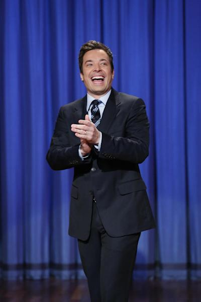 """FILE - This April 4, 2013 file photo released by NBC shows Jimmy Fallon, host of """"Late Night with Jimmy Fallon,"""" in New York. Fallon will debut as host of his new show, """"The Tonight Show with Jimmy Fallon,"""" on Feb. 17. (AP Photo/NBC, Lloyd Bishop, File)"""