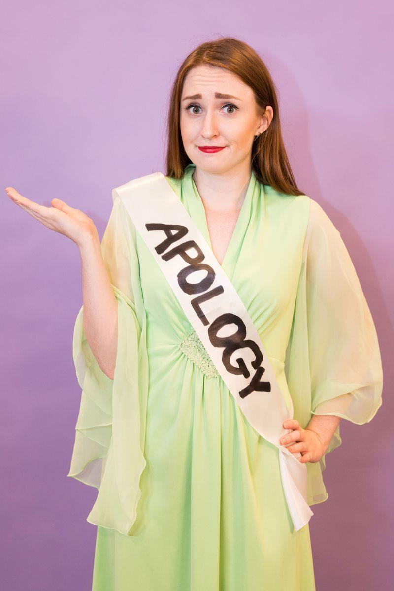 """<p>Have an old formal dress lying around? Use sharpie and a plain white sash to dress up as a """"formal apology."""" </p><p><a class=""""link rapid-noclick-resp"""" href=""""https://www.amazon.com/TREORSI-Blank-Satin-Plain-Decorations/dp/B071S2TZY3?tag=syn-yahoo-20&ascsubtag=%5Bartid%7C10070.g.490%5Bsrc%7Cyahoo-us"""" rel=""""nofollow noopener"""" target=""""_blank"""" data-ylk=""""slk:SHOP WHITE SASHES"""">SHOP WHITE SASHES</a> </p>"""