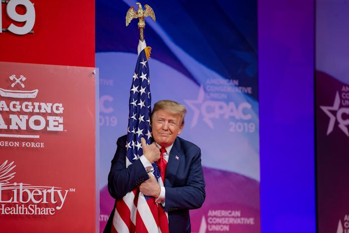 Donald Trump, pictured at the 2019 Conservative Political Action Conference, is looking to cash in on his appearance at this year's CPAC. (Photo: Photo by Tasos Katopodis/Getty Images)
