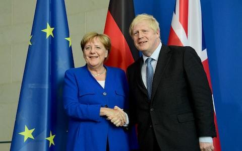 British Prime Minister Boris Johnson after a joint statement at the Chancellery in Berlin