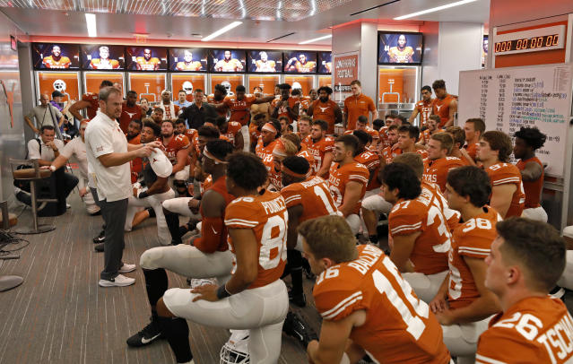 Texas Longhorns head coach Tom Herman talks with the team in the locker room after the game against the LSU Tigers Saturday Sept. 7, 2019 at Darrell K Royal-Texas Memorial Stadium in Austin, Tx. LSU won 45-38. ( Photo by Edward A. Ornelas )