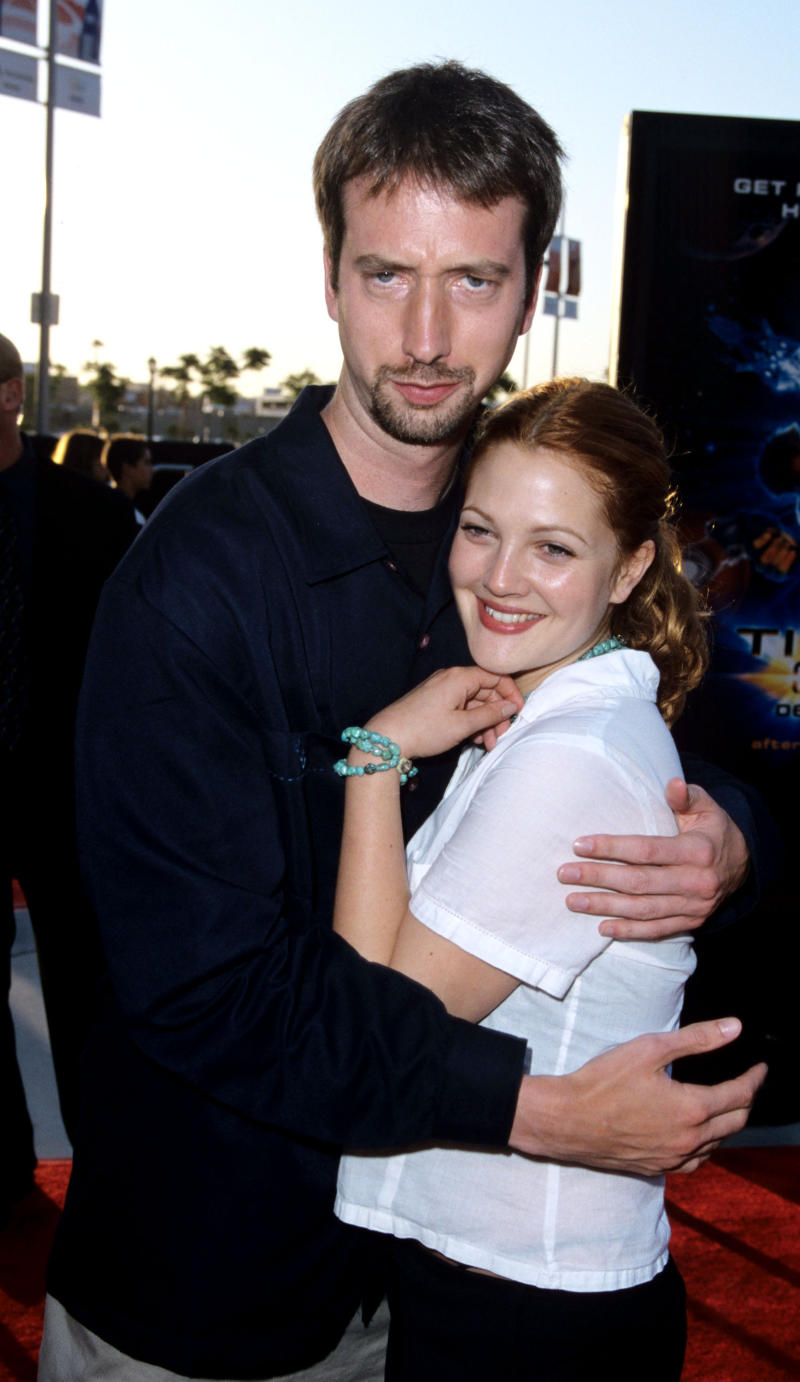 "Tom Green and Drew Barrymore during ""Titan A.E."" Los Angeles Premiere at Staples Center in Los Angeles, California, United States. (Photo by S. Granitz/WireImage)"