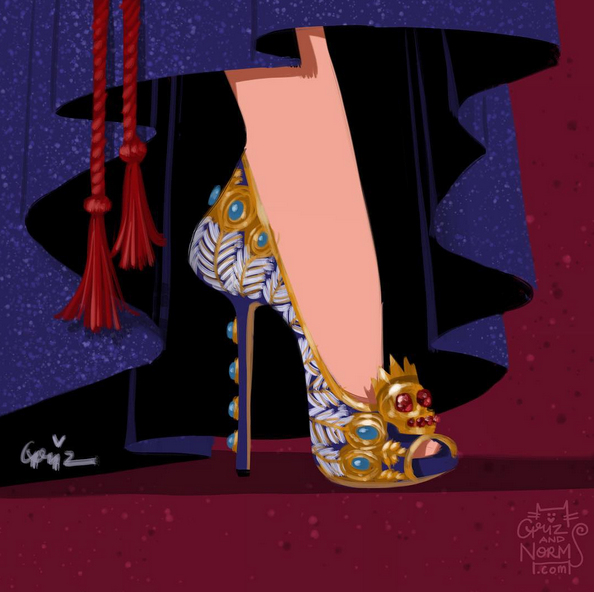 The Evil Queen Grimhilde in a Alexander McQueen-inspired design, featuring the McQueen skull with pattern and gemstone from her peacock throne.