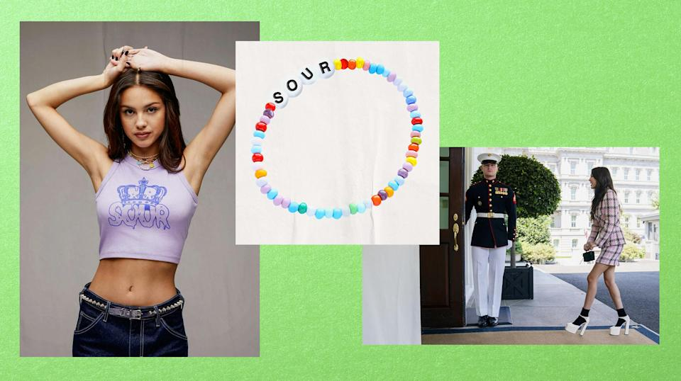 Illustration of Olivia Rodrigo wearing a cropped tee from her merchandise, a