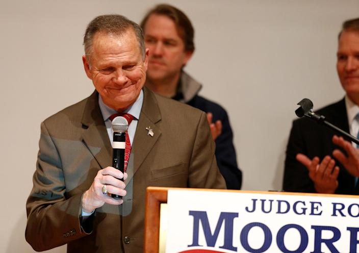 Republican Senate candidate Roy Moore pauses addressing supporters at his election night party in Montgomery, Ala., Dec. 12, 2017. (Photo: Jonathan Bachman/Reuters)