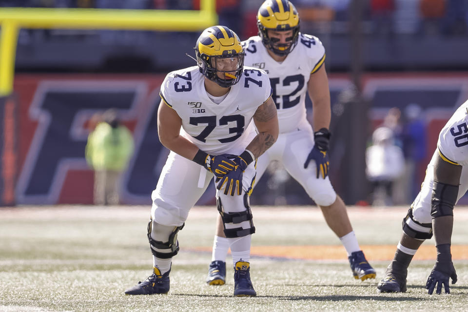 CHAMPAIGN, IL - OCTOBER 12: Jalen Mayfield #73 of the Michigan Wolverines is seen during the game against the Illinois Fighting Illini at Memorial Stadium on October 12, 2019 in Champaign, Illinois. (Photo by Michael Hickey/Getty Images)