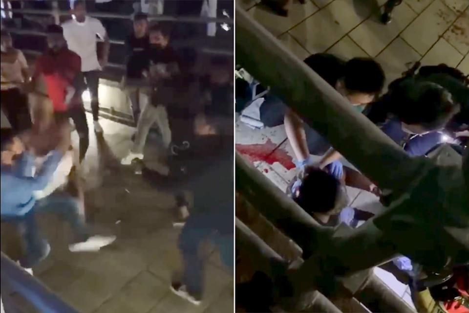Screengrabs taken from videos posted on social media of the clash that took place at Clarke Quay on Saturday (19 December) night.