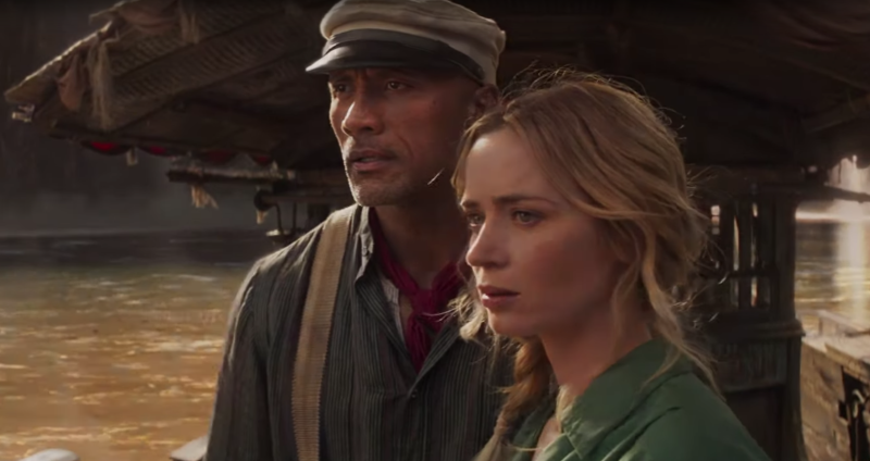 Dwayne Johnson and Emily Blunt in a still from <i>Jungle Cruise</i>. (Disney)