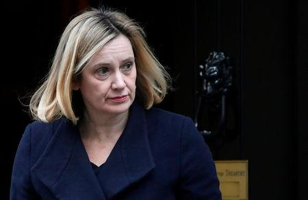 Britain's Secretary of State for Work and Pensions Amber Rudd leaves Downing Street in London