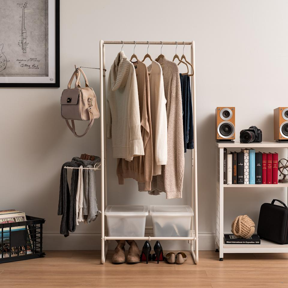 "<h3><a href=""https://www.wayfair.com/storage-organization/pdp/latitude-run-abhainn-garment-and-accessories-rack-w002500641.html"" rel=""nofollow noopener"" target=""_blank"" data-ylk=""slk:Latitude Run Abhainn Garment and Accessories Rack"" class=""link rapid-noclick-resp"">Latitude Run Abhainn Garment and Accessories Rack</a></h3><br><strong>When you consider closets to be a thing of myths</strong>: The closet-less small-space plague need no longer trouble you — instead, try out a streamlined, free-standing rack for clothing and shoe storage.<br><br><strong>Latitude Run</strong> Abhainn Garment and Accessories Rack, $, available at <a href=""https://go.skimresources.com/?id=30283X879131&url=https%3A%2F%2Fwww.wayfair.com%2Fstorage-organization%2Fpdp%2Flatitude-run-abhainn-garment-and-accessories-rack-w002500641.html"" rel=""nofollow noopener"" target=""_blank"" data-ylk=""slk:Wayfair"" class=""link rapid-noclick-resp"">Wayfair</a>"