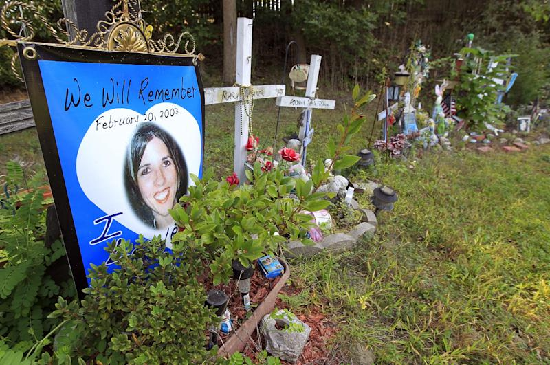 File -- In this Monday, Sept. 17, 2012 file photo photographs, wooden crosses, and personal items, comprise makeshift memorials on the site of the Feb. 20, 2003 Station nightclub fire that killed 100 people in West Warwick, R.I. The Station Fire Memorial Foundation, which is working to build a memorial at the site of a nightclub fire, is having trouble raising money for the project which is already underway. The project is estimated to cost $1.4 million and they have less than $200,000 in the bank. (AP Photo/Steven Senne, File)