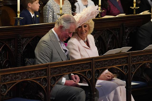 <p>Prince Charles, Prince of Wales, and Camilla, Duchess of Cornwall shared a moment during the ceremony. (Photo: Getty) </p>