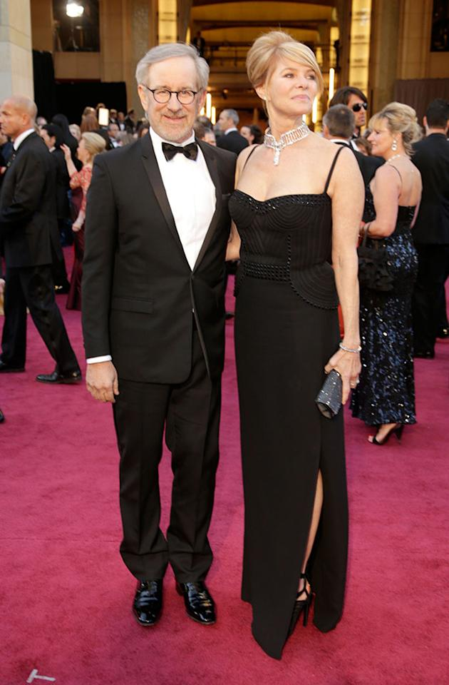 Steven Spielberg and Kate Capshaw arrive at the Oscars in Hollywood, California, on February 24, 2013.