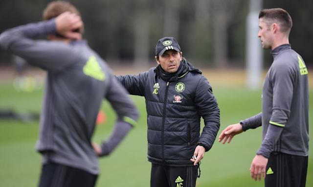 """<span class=""""element-image__caption"""">Antonio Conte exhorts his players in training before Wednesday's match with Manchester City. He said his team are in 'a position nobody thought Chelsea would be in'.</span> <span class=""""element-image__credit"""">Photograph: Darren Walsh/Chelsea FC via Getty Images</span>"""
