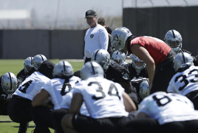 "<a class=""link rapid-noclick-resp"" href=""/nfl/teams/oak"" data-ylk=""slk:Oakland Raiders"">Oakland Raiders</a> coach Jon Gruden seems to want to take the team's offense back in time, which is not a good sign for fantasy owners. (AP Photo/Jeff Chiu)"