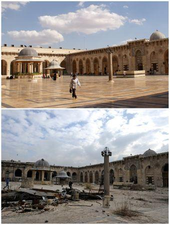 A combination picture shows Aleppo's Umayyad mosque, Syria, before it was damaged on October 6, 2010 (top) and after it was damaged (bottom) December 17, 2016. REUTERS/Khalil Ashawi (top)/Omar Sanadiki